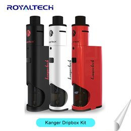 Wholesale Authentic Kanger Dripbox Kit with KangerTech Subdrip Tank Dripmod Box Mod Wide Bore Drip Tip Black White Red Color VS Vaporesso target vtc
