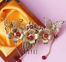 Wholesale Exquisite fashion Bridal Accessories Chinese style golden flowers headdress bride Ancient Costume comb