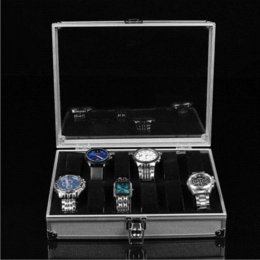 Wholesale 1pcs12 Grid Watches Box Display Storage Slots Jewelry Square Box Case Aluminium Watch Box watch collection box