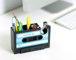 Wholesale Rewind Desk Tidy Retro Cassette Tape Dispenser New Design pen container DHL Fedex