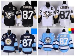 Pittsburgh Penguins Hockey Jerseys 87 Sidney Crosby Jersey Home Black Road White Alternate Navy Blue Third Light Blue ICE Jersey