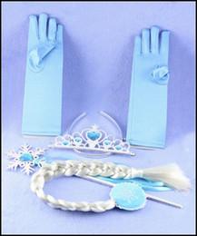 Wholesale Prettybaby Kids girl frozen elsa anna tiara gloves magic wands wigs set suits girls hair Accessories Pt0010