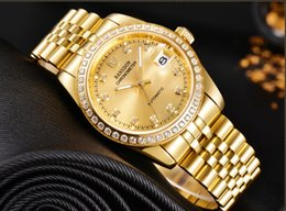 mechanical designer watches top fashion Domineering men classic watch diamond Calendar plated 18 k gold 316L Stainless steel full gold dial