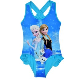 Wholesale Frozen Girls Swimwear Bathing Suit Princess Anna Elsa Swimsuit Kids Ruffled Swimming Suit For Girl Children Swim Costume CL043