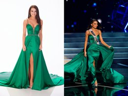 Wholesale Silk Dresses For Prom - Green Pageant Dresses Spaghetti Straps Floor Length Silk Like Chiffon Elegant Prom Dress For Formal Party High Quality Beaded Crystals 2015