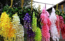 Wholesale 70 cm Long Elegant Artificial Silk Tofu pudding Rattan flower Rattan For Wedding Centerpieces Decorations Bouquet Garland Home BSH6