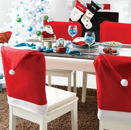 Wholesale Christmas Chair Covers Wholesale - Red Hat Chair Back Covers for cristmas decoration Christmas gift Santa Clause Dinner Decor New Party Supply Favor 50CMX60CM