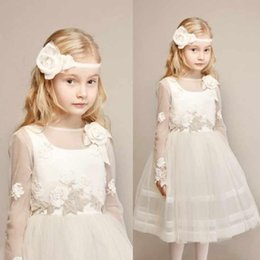 Wholesale 2015 New Collection Handmade Flower Girl Formal Bay Girl Dresses Princess Gown Tea length Lace Long Illusion Sleeve Sheer Neckline