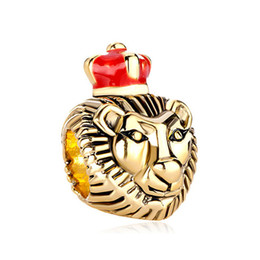 Gold Plating King Lion Bead with Red Crown Natural Animal Life Charm Fit Pandora Charms Bracelet
