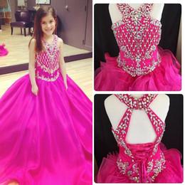 V Neck Fuchsia Sweep train Girl's Pageant Dresses Ball Gown Shining Beaded Crystals Little Girls Open Back Organza Flower Girls' Dresses