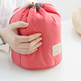 Wholesale-New Arrival Barrel Shaped Travel Cosmetic Bag Makeup Bag cosmetic organizer makeup storage cosmetic bags Free shipping FM0041