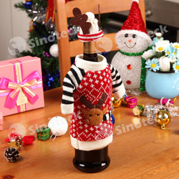 Wholesale Christmas Themed Wine Deer Knitting Wine Bottle Bag Wine Glass Champagne Bottle Covers Bag For Christmas Decorations Ornament New Free DHL