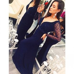 Navy Long Sheer Sleeve Mermaid Prom Dresses V neck Hot Beaded Sequins Trumpet Party Evening Gowns Custom made