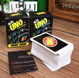 Wholesale night luminous glow in the dark UNO classic board game playing card family fun party game for pub bar