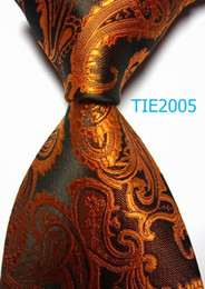 Wholesale promotional men accessories knitted tie cm width Brown Paisley print Polyester JACQUARD WOVEN Silk professional Tie neckties many styles