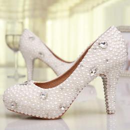 Fahion Handmad 3 Inches High Heel Platform Wedding Shoes Elegant Pearl Bridal Shoes White Genuine Leather Women Prom Pumps