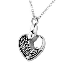 Wholesale Lily Angle Wing Hollow Heart Memorial Urn Locket Cremation Jewelry Stainless Steel Pendant Necklace with Gift Bag And Chain