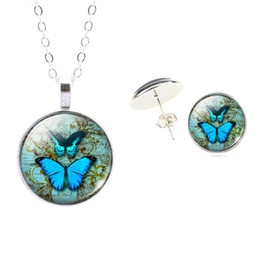 Wholesale Sterling Silver Jewelry Set Butterfly Art Picture Glass Pendant Chain Necklace Earrings Set For Women Accessories Fine Jewelry