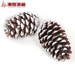 Wholesale Christmas tree ornaments cm with snow Christmas big pine log g supplies natal snowflake crafts hanging party supplies