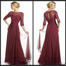 Wholesale 2016 Elegant Maroon Mother Dresses Scoop Neckline Long Sleeves Floor Length Lace Chiffon Formal Gowns Wedding Party Dresses