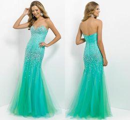 Custom Made 2015 Cheap prom dress sweetheart sleeveless mermaid crystal prom dress free shipping