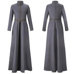 Wholesale Solid women winter coats stand collar zipper split maxi long winter woolen trench coats detachable fashion slim overcoat outwear