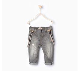 Wholesale lined trousers warm kids Z baby boy s jeans double layer infant toddler suspender braces children boy broken pant denim overalls A8
