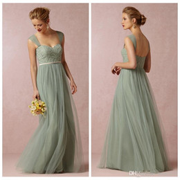 Cheap Sage Convertible Dress Bridesmaid Dress Tulle Removable Strap Long Sweetheart Formal Dresses Cheap 2015 BHLDN Wedding Party Dress