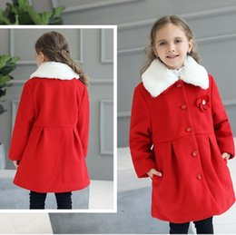 2017 children's wear new comfortable cute girl winter long sleeve bombazet coats fashion Detachable collar red solid appliques outwear