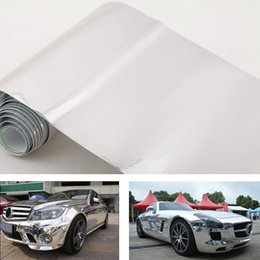 Wholesale 152 cm Chrome Mirror Silver Vinyl Wrap Car Sticker On Car Decal Film Sheet Self adhesive NO Air Bubble K2172