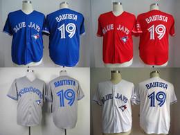 #19 Jose Bautista Jersey Wholesale Cheap Baseball Jerseys Toronto Blue Jays Home Road White Red Blue Grey Jersey