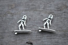 Wholesale 25pcs Surfer Charms Antique Tibetan Silver Tone Surfing charm pendants Surf Board Necklace charms x21mm