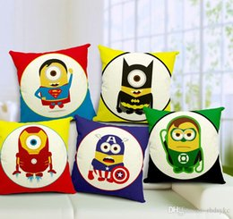 Wholesale Minions Superheroes the Avenger Batman American Captain Ironman movie cartoon character cushions car sofa home decor pillow covers