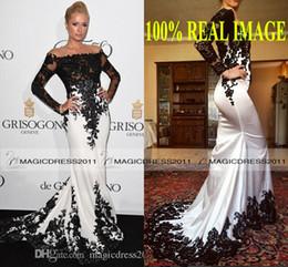 Classical White And Black Mermaid formal Evening Dresses Applique Lace Long Sleeves Dress Evening Wear Robes De Soirée Cheap