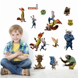 Zootopia wall stickers cartoon 3D Nick Wilde Judy Hopps wallpapers wall decals removable novelty 30*60cm wallpaper for kids room B