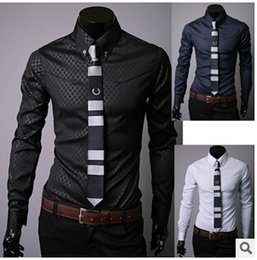 Hot sale men Slim business blouse cotton mens designer clothes turn-down collar tommis shirts fashion Obscure argyle dress shirt