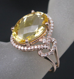 Wholesale Solid K Rose Gold Natural Diamond Ravishing Citrine Ring R0114