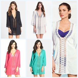 Wholesale 2015 Sexy Women Hollow Out Bikini Cover Up with Floral Crochet Poncho Mini Dress Wrap Dresses Smooth Beachwear