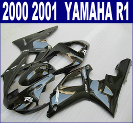 ABS plastic fairing kit for YAMAHA 2000 2001 YZF R1 fairings set YZF-R1 00 01 all glossy black aftermarket RQ94 + 7 gifts