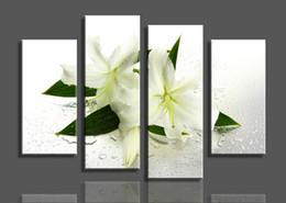2016 фотографии панели современный ручной росписью 4 панели Белые цветы живопись маслом холст стены искусства рисунок Домашнее украшение дешевый фотографии панели