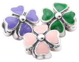 Sterling Silver Charms 925 Enameled Clover Charms for Bracelets DIY Flower European Beads Accessories 3 Colors
