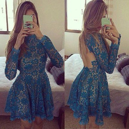 Sexy Open Back Blue Lace Short Cocktail Prom Dresses 2019 Evening Party Dresses For Homecoming Graduation robe de soiree Long Sleeve Cheap