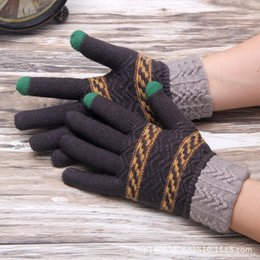 Wholesale-Fashion Geometric Crochet Gloves Women Men Winter Striped Gloves Imitated Cashmere Gloves and Mittens Knitting Gloves for Winter