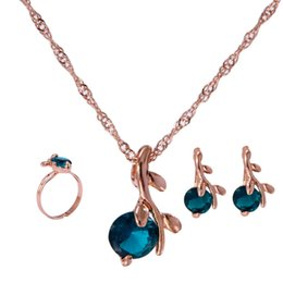 Wholesale Sapphire Sea Crystal - Women New 18k Yellow Gold Sea Blue Sapphire Austrian Crystal Chain Jewelry Sets Necklace Earrings Free shipping Wedding Jewelry