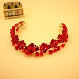Wholesale 2016 New Arrival Cheap Top Quality Elegant Ruby Hair Accessries Red Crystal Headband Wedding Crown Cocktail Crown CPA527
