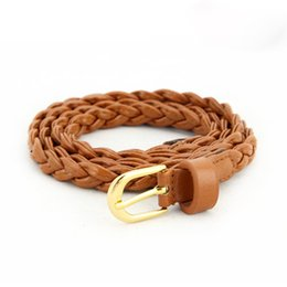 New! Women Braided Belt Buckle Brand Thin Woven Canvas Casual Belts Waistband Wild Strap