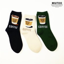 Wholesale Meow rabbit a11c retro artistic female socks cotton quality printing Coffee cup tube socks for full