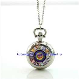 Wholesale Tarot Card Pocket Watch Photo Locket Necklace Silver Style Retro Vine Pocket Watch Necklace WT
