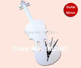 Wholesale funlife x15cm x5 in D Guitar Home Decoration DIY Crystal Mirror surface Clocks Childrens Wall Art Watch