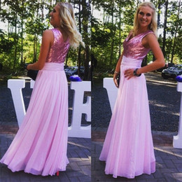 Pink Sequins Evening Dresses 2016 V neck Sleeveless A line Chiffon Party Prom Gowns Zipper back Pleats Waistline Special Lady Dress